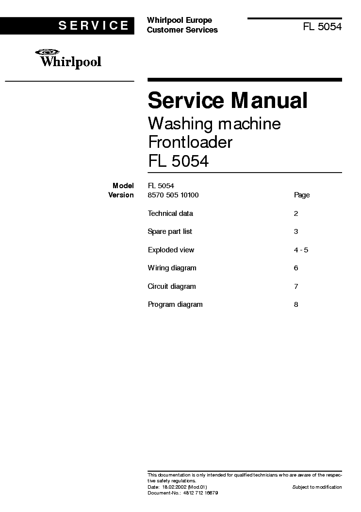 WHIRLPOOL FL 5054 service manual (1st page)