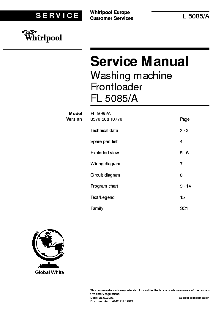 WHIRLPOOL FL 5085 A service manual