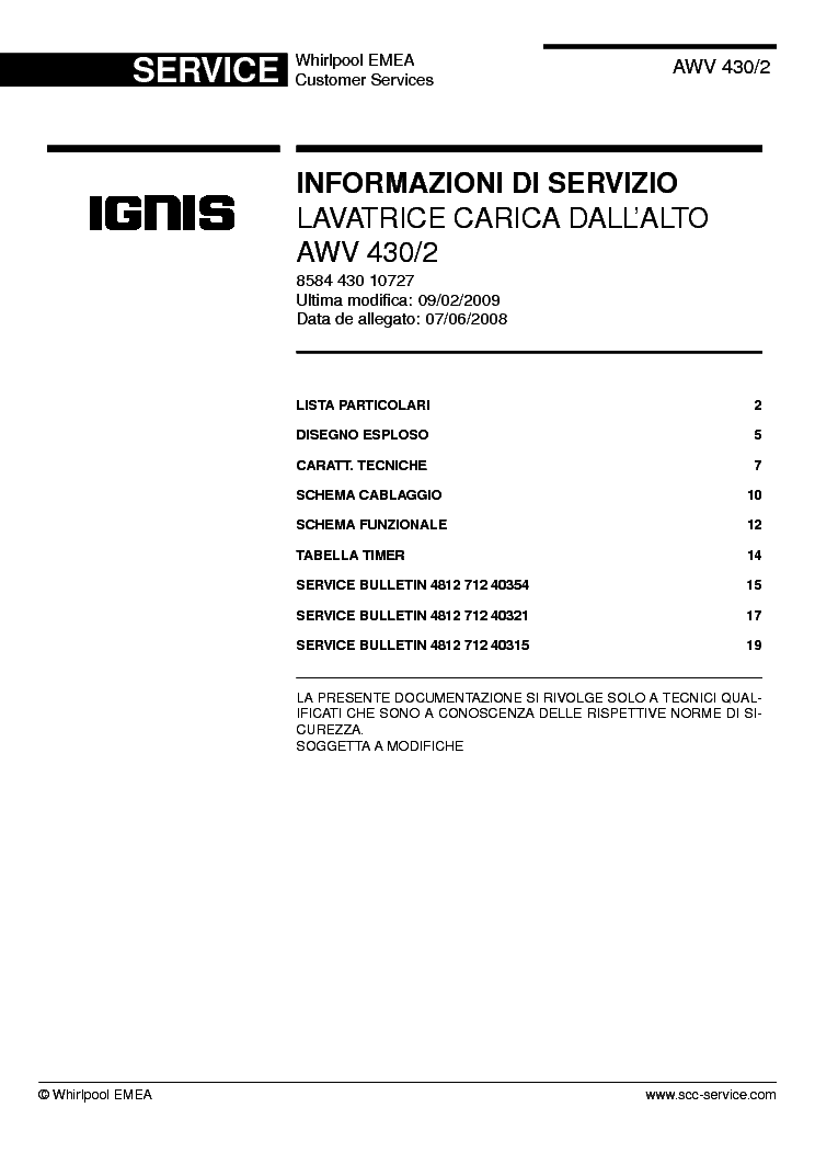 whirlpool ignis awv 430 2 service manual download