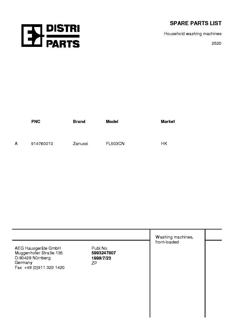 Zanussi fl503 cn схема