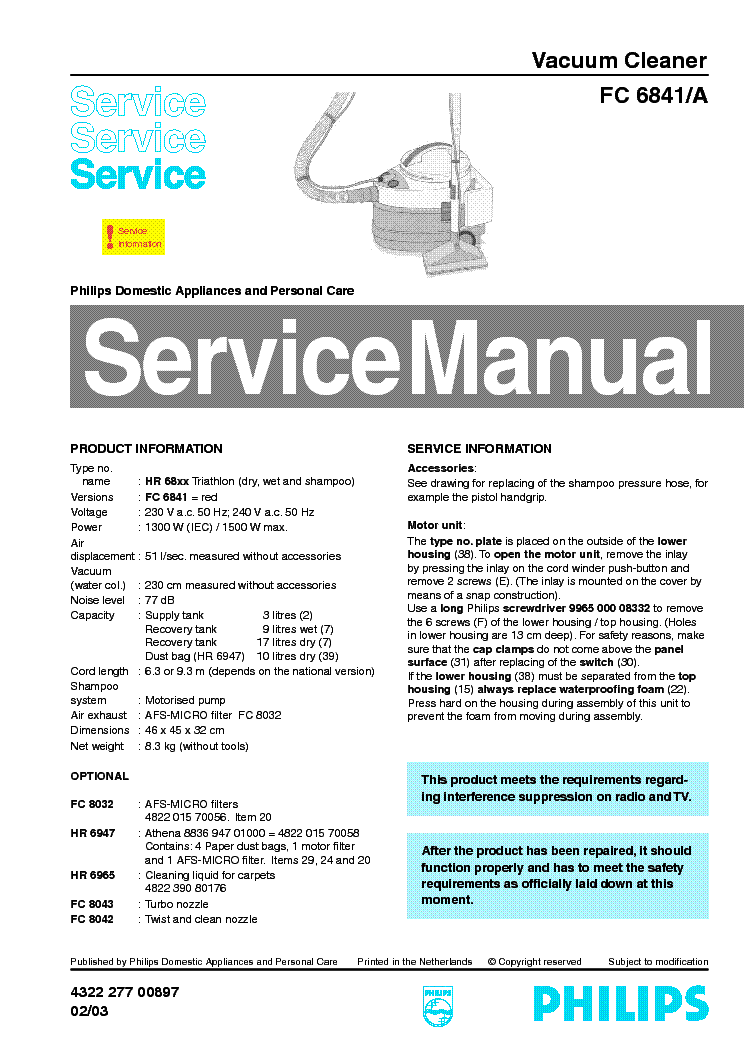 PHILIPS FC-6841 A VACUUM CLEANER service manual (1st page)