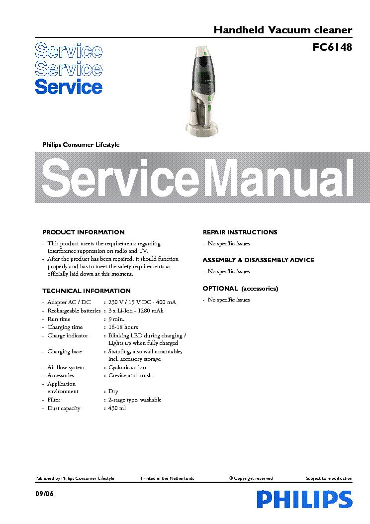 philips fc6148 handheld vacuum cleaner service manual download rh elektrotanya com service manual rainbow vacuum Kenmore Vacuum Manual