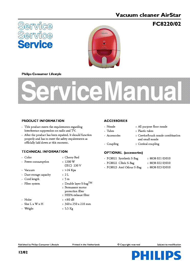 PHILIPS FC8220-02 VACUUM CLEANER service manual (1st page)