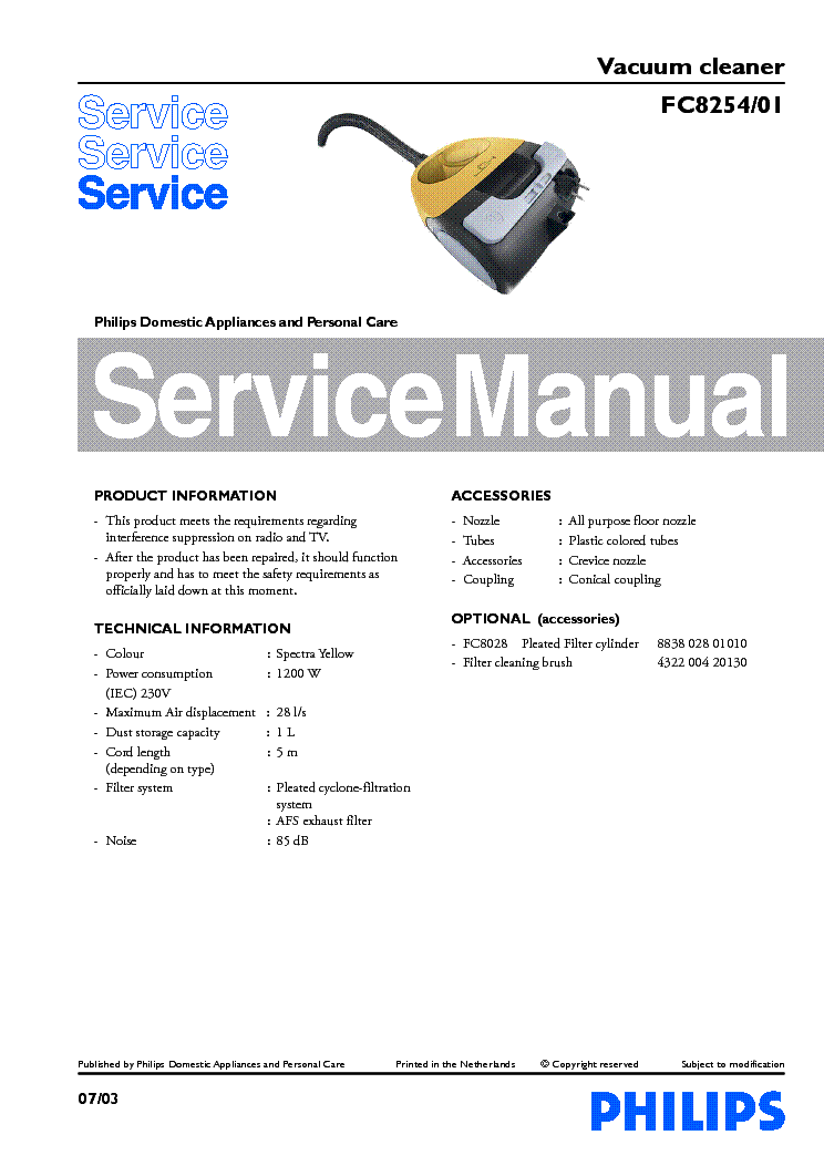 PHILIPS FC8254-01 VACUUM CLEANER service manual (1st page)