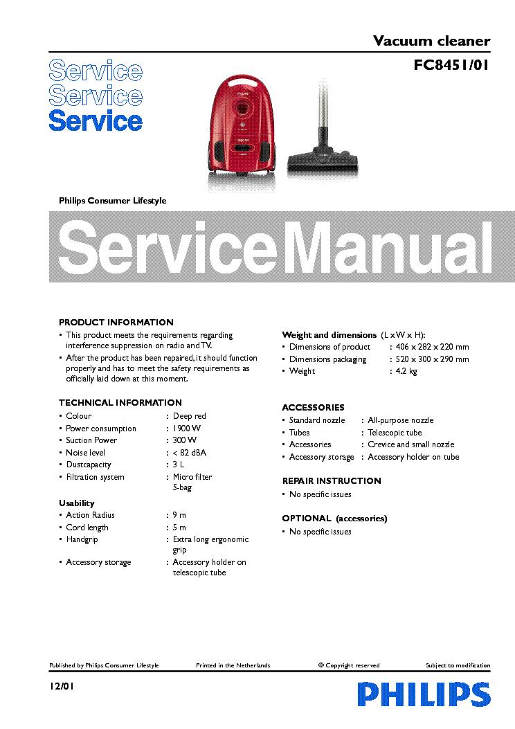 philips fc8451 01 vacuum cleaner service manual download schematics rh elektrotanya com Electrolux Vacuum Cleaner Manuals service manual rainbow vacuum