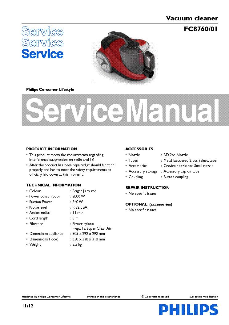 philips fc8760 01 vacuum cleaner service manual download schematics rh elektrotanya com Manual Pool Vacuum Electrolux Vacuum Cleaner Manuals