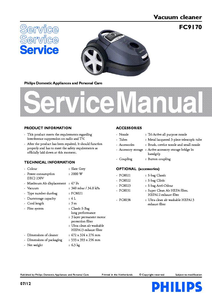 philips fc9170 vacuum cleaner service manual download schematics rh elektrotanya com Manual Pool Vacuum Manual Vacuum Aspiration