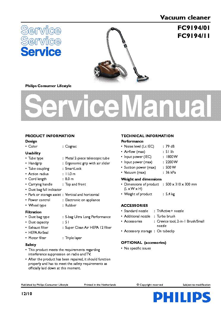 philips fc9194 01 11 vacuum cleaner service manual download rh elektrotanya com lg vacuum cleaner service manual vacuum cleaner service manual