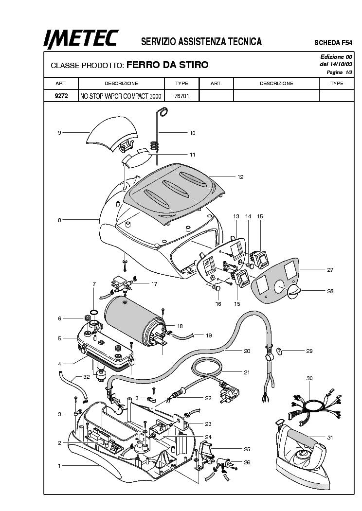 Schema Cablaggio Ferro Da Stiro : Smontare imetec no stop compact piccoli
