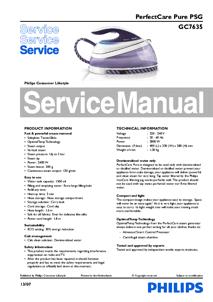 PHILIPS GC7635 service manual (1st page)
