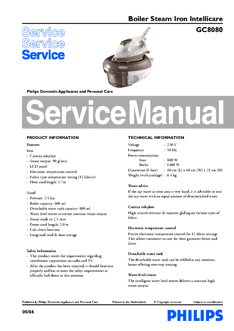 PHILIPS GC8080 service manual (1st page)