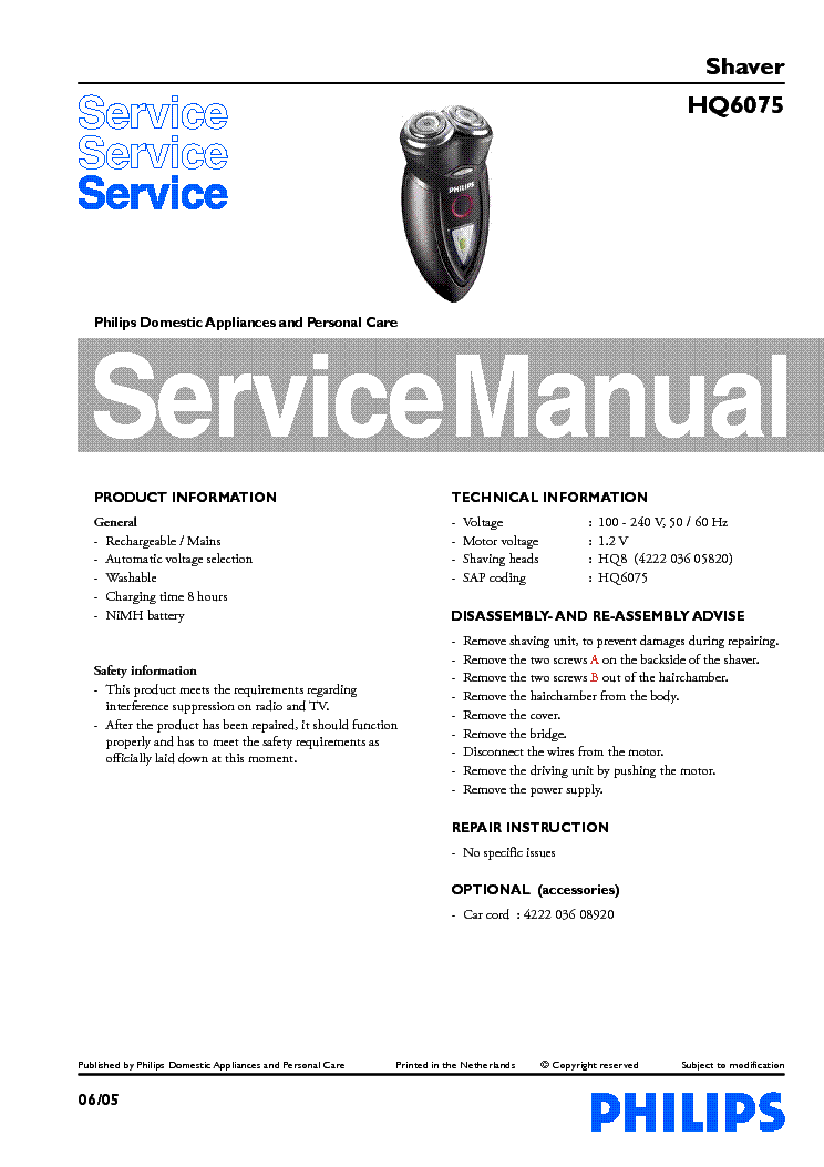 PHILIPS HQ6075 SHAVER service manual (1st page)