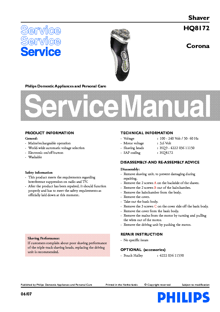 Philips Hd4918 Induction Plate Parts Service Manual