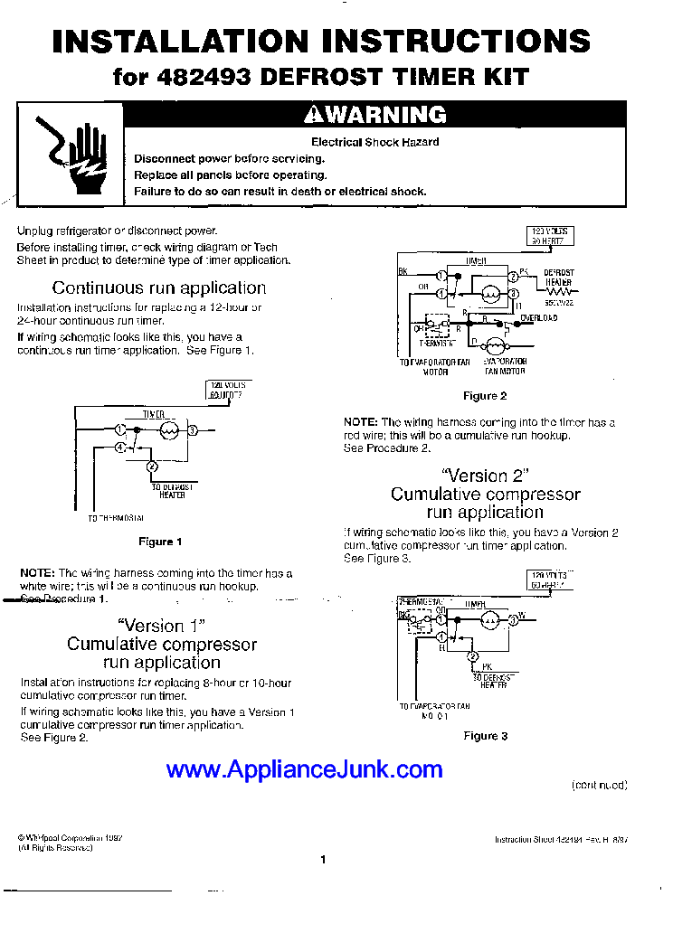 Whirlpool Installation Instructions For 482493 Defrost