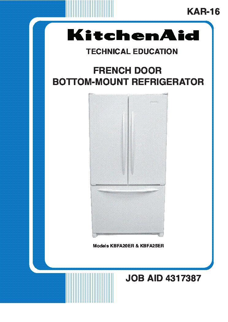 Whirlpool Kitchenaid Kbfa20er Kbfa25er Kar 16 French Door