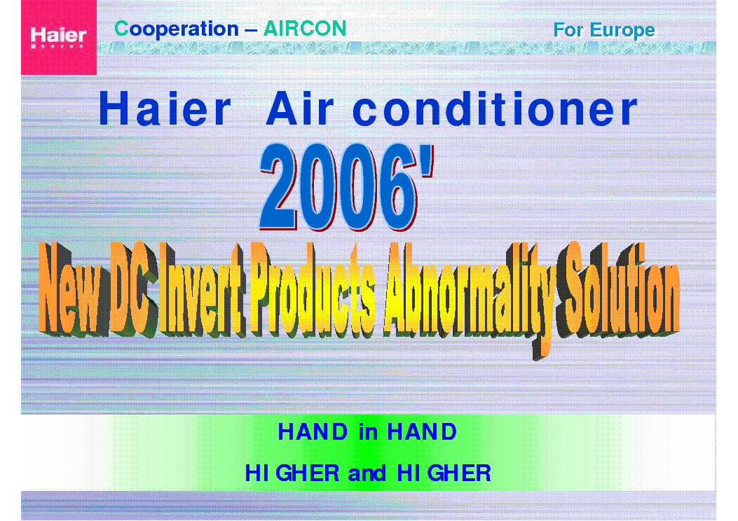 Haier air conditioner service Manual on