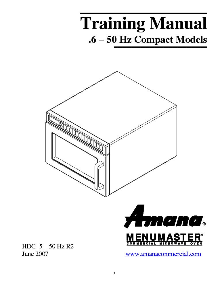AMANA MENUMASTER HDC5-50 HZ SERIES DEC11E2 DEC14E2 DEC18E2 HDC511A ...
