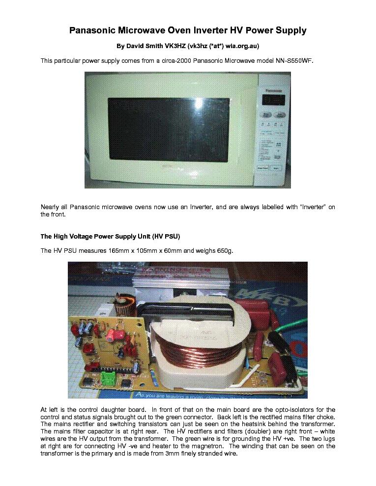 panasonic nn s550wf microwave oven inverter hv power supply service rh elektrotanya com Panasonic Inverter Microwave 1250-Watt Panasonic Inverter Microwave Parts