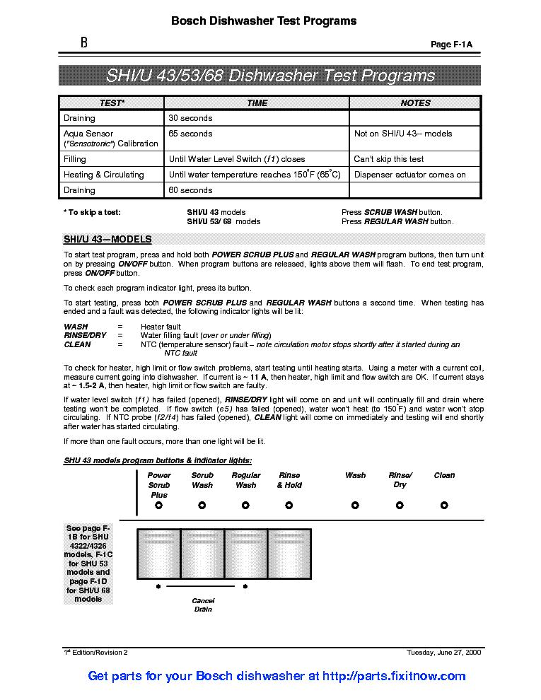 Service manual for Bosch dishwasher Reset 3 sec 2