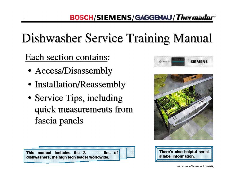 Bosch Siemens Gaggenau Thermador Dishwasher Training 2004 Manual Guide