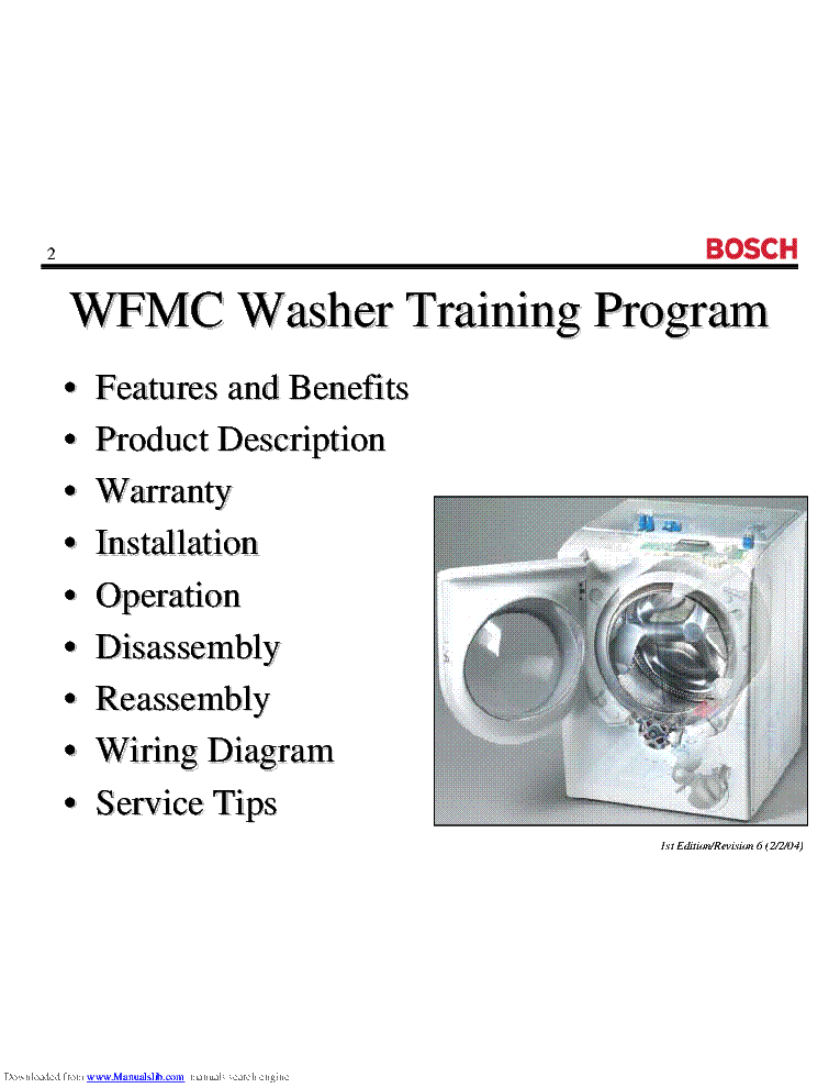 BOSCH WFMC WFMC3200UC TRAINING service manual (2nd page)