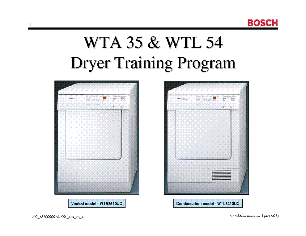 BOSCH WTA 35 WTL 54 DRYER TRAINING MANUAL service manual (1st page)