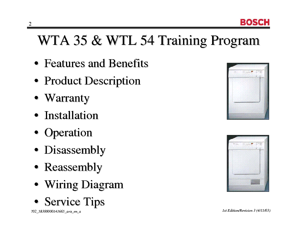 BOSCH WTA 35 WTL 54 DRYER TRAINING MANUAL service manual (2nd page)