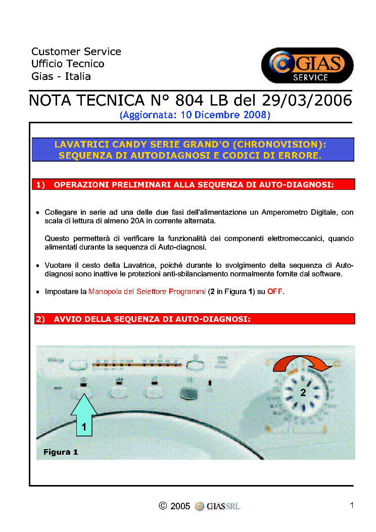 CANDY WASHING MACHINE ERROR CODE  service manual (1st page)