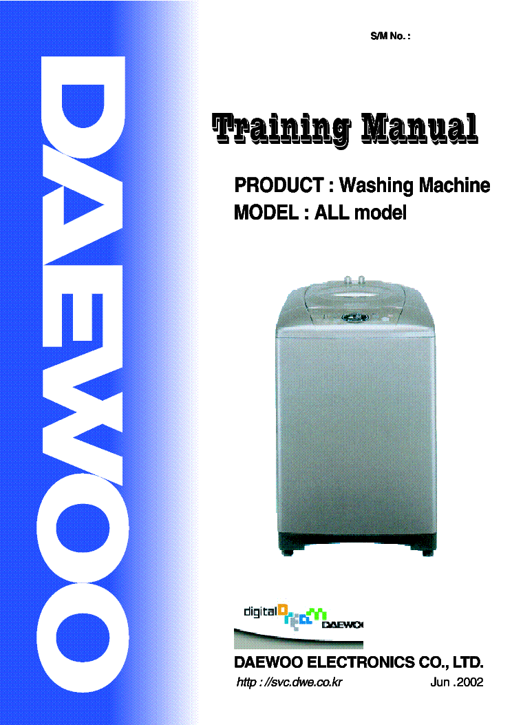Daewoo Washing machine Service manuals