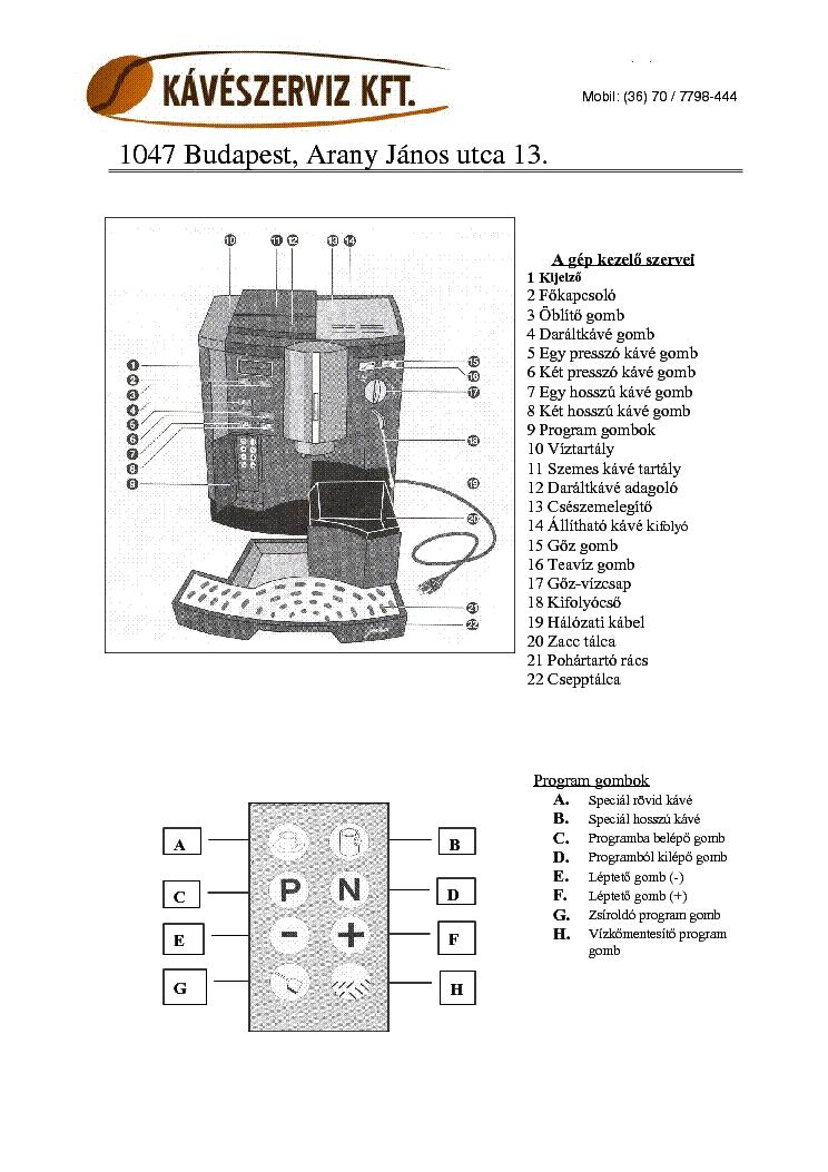 Jura Impressa 500 User Hun Service Manual Download