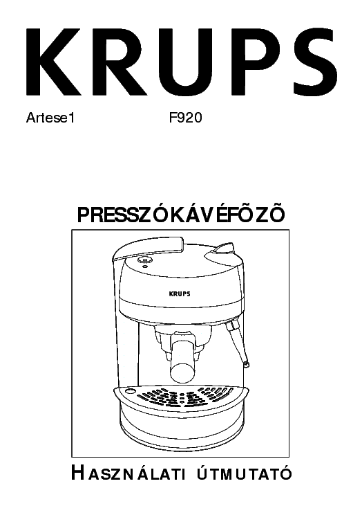 Krups Coffee Maker Repair Manual : KRUPS F920 USER HUN Service Manual download, schematics, eeprom, repair info for electronics experts