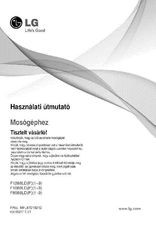 Lg F1088ld F1288ld F8088ld User Manual Hun Service Manual