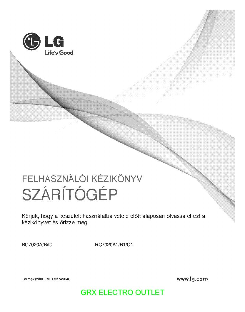 LG RC7020A USERMANUAL service manual (1st page)