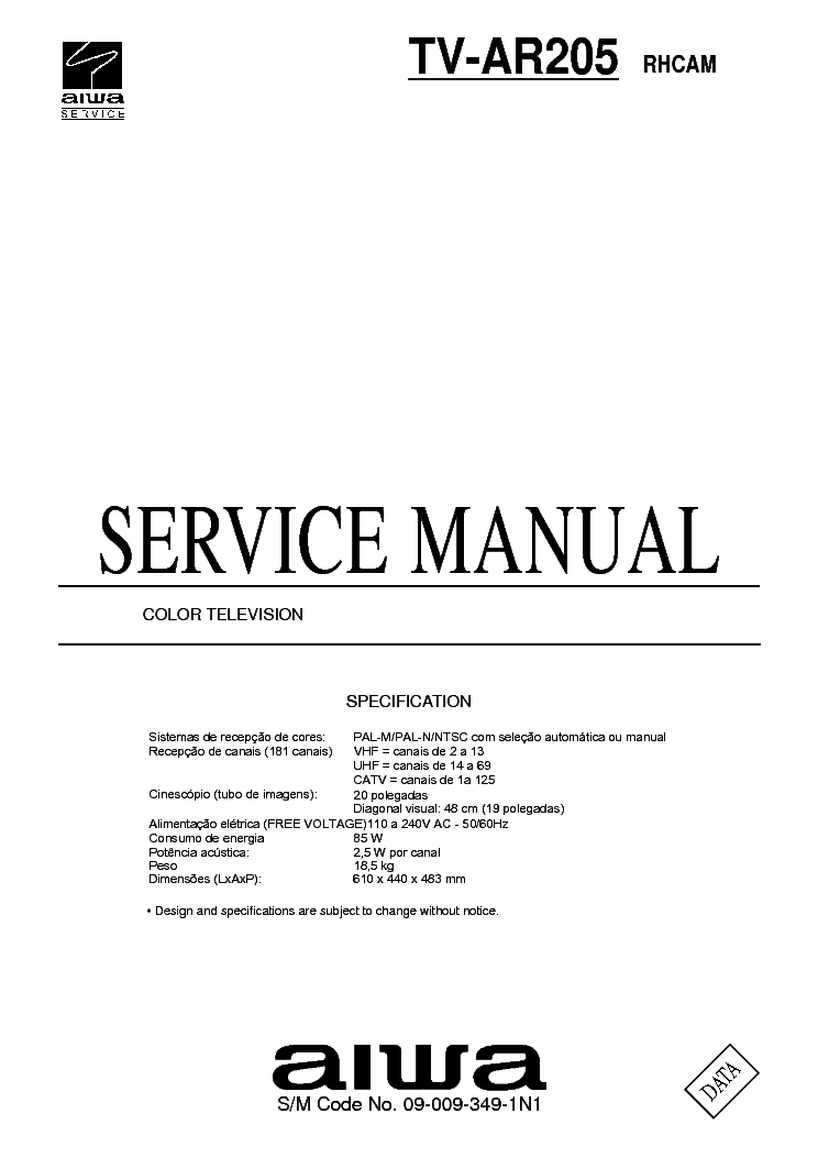 AIWA TV-AR205 SM service manual