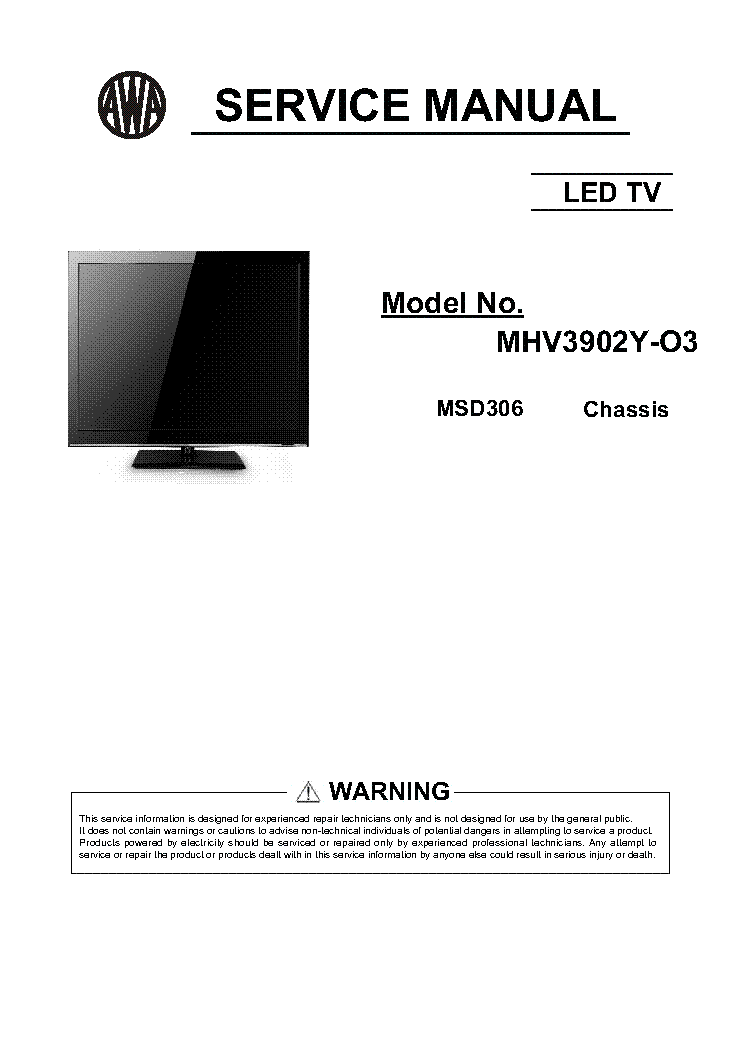 AWA MHV3902Y-03 CHASSIS MSD306 service manual (1st page)