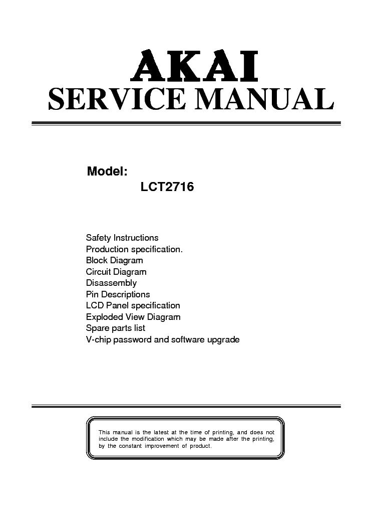 akai lct2716 lcd tv sm service manual download schematics eeprom rh elektrotanya com Akai Plasma TV Service Manual Akai TV Manual Cftd 2011