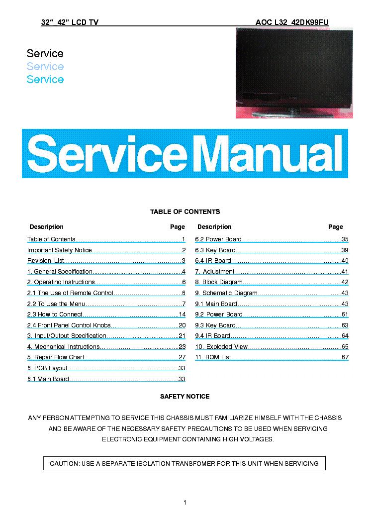 tv service manuals free