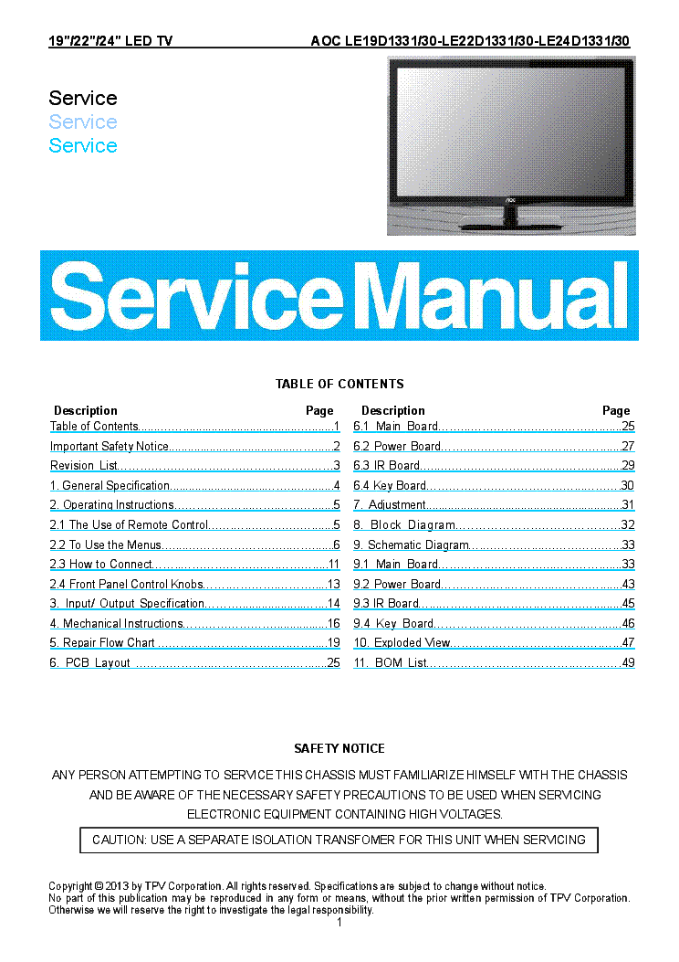 Aoc tv3766w lcd tv service manual download schematics eeprom aoc fandeluxe Images