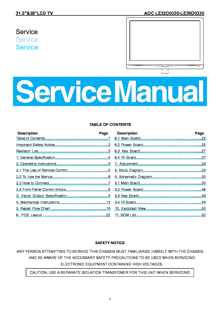 AOC LE32D0330 LE39D0330 LCD TV service manual