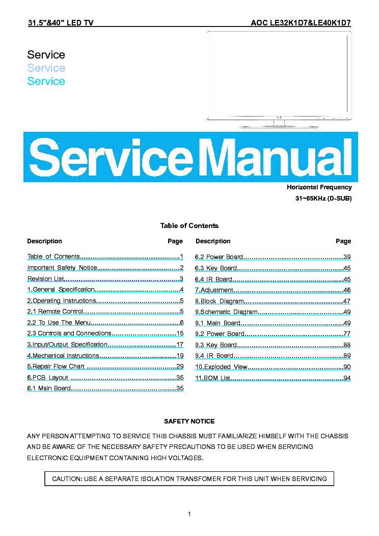 AOC LE32K1D7 LE40K1D7 LED TV Service Manual download, schematics