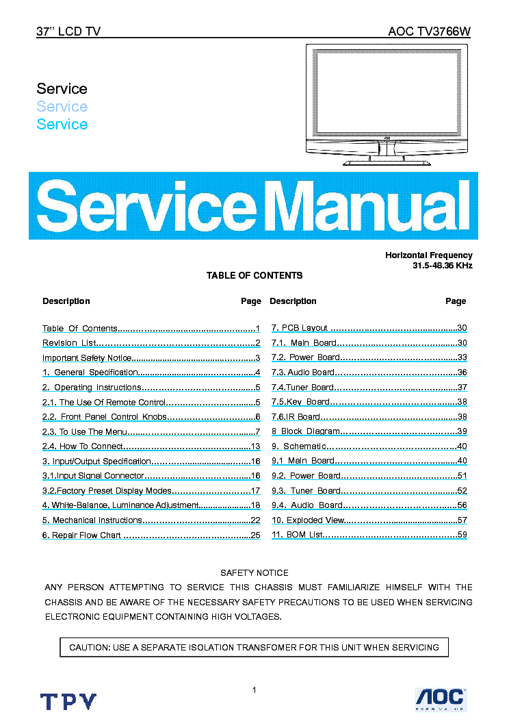 Aoc tv3766w lcd tv service manual download schematics eeprom aoc tv3766w lcd tv service manual 1st page fandeluxe Images