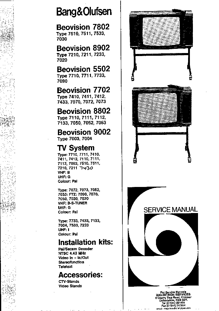 BANG OLUFSEN BEOVISION 5502 7802 8802 8902 9002 service manual (2nd page)