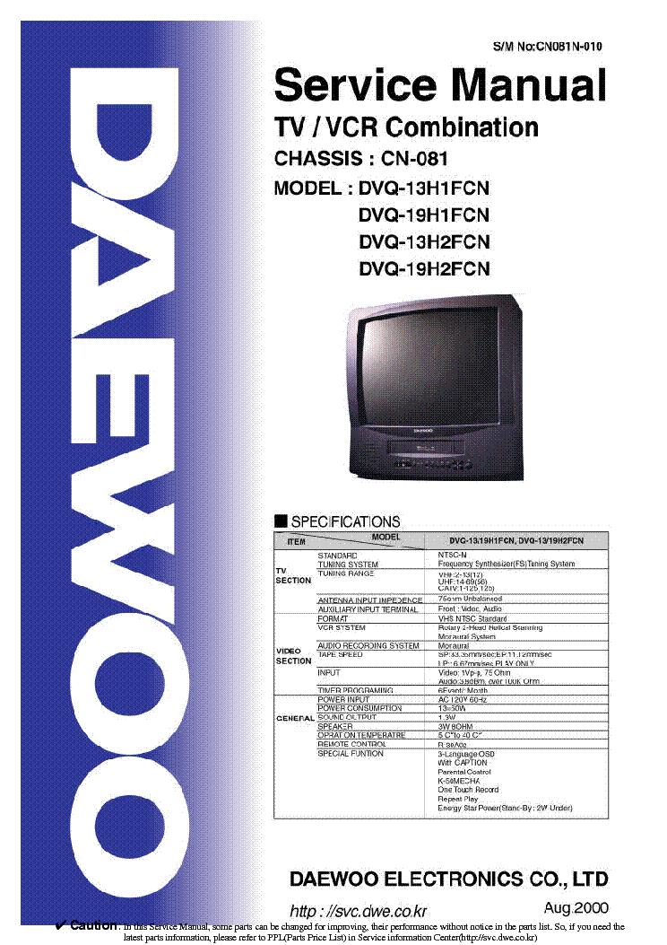 Daewoo Cn081 Chassis Dvq13h1fcn Tv