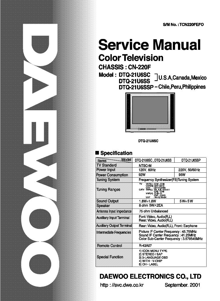 daewoo cn220f chassis dtq21u6sc tv sm service manual download rh elektrotanya com Service Repair Manuals Online Makers Service Repair Manual