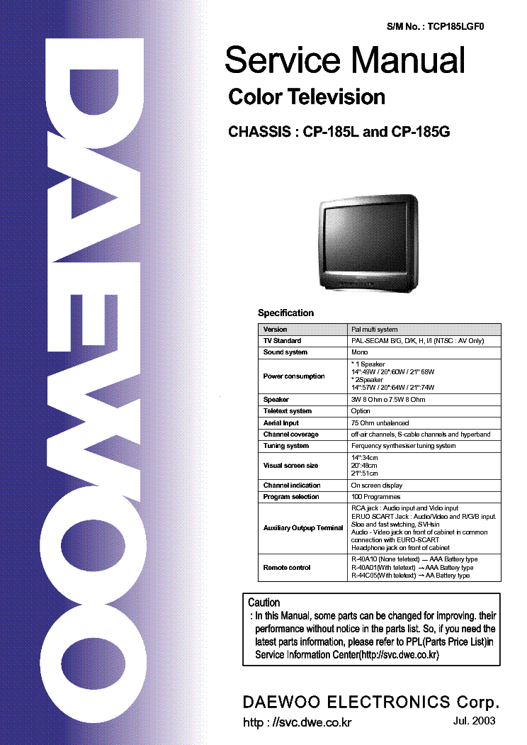 DAEWOO CP185L CP185G CHIS TV SM Service Manual download ...