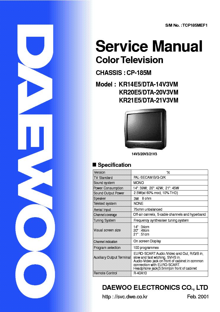 инструкция телевизора daewoo