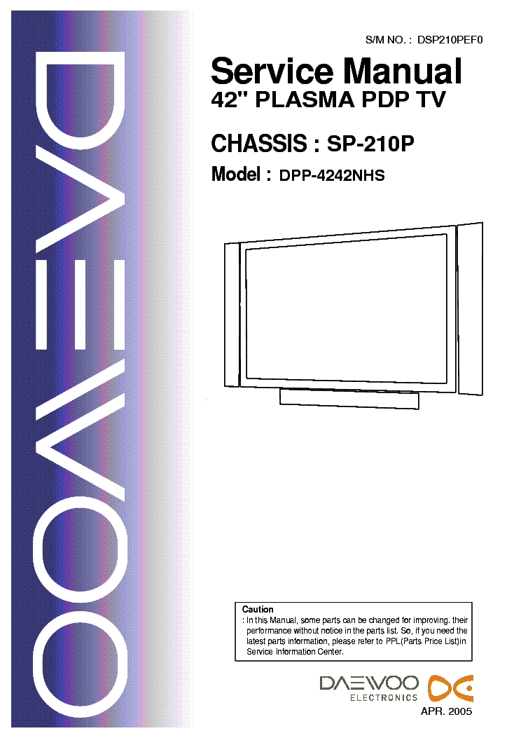 Схема телевизора Other DAEWOO DPP-4242NHS, Chassis SP-210P.