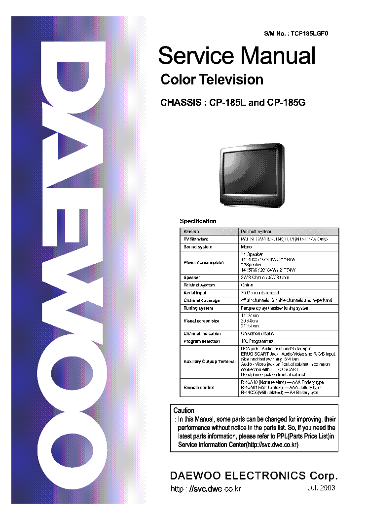 DAEWOO TV CHASSIS CP-185L