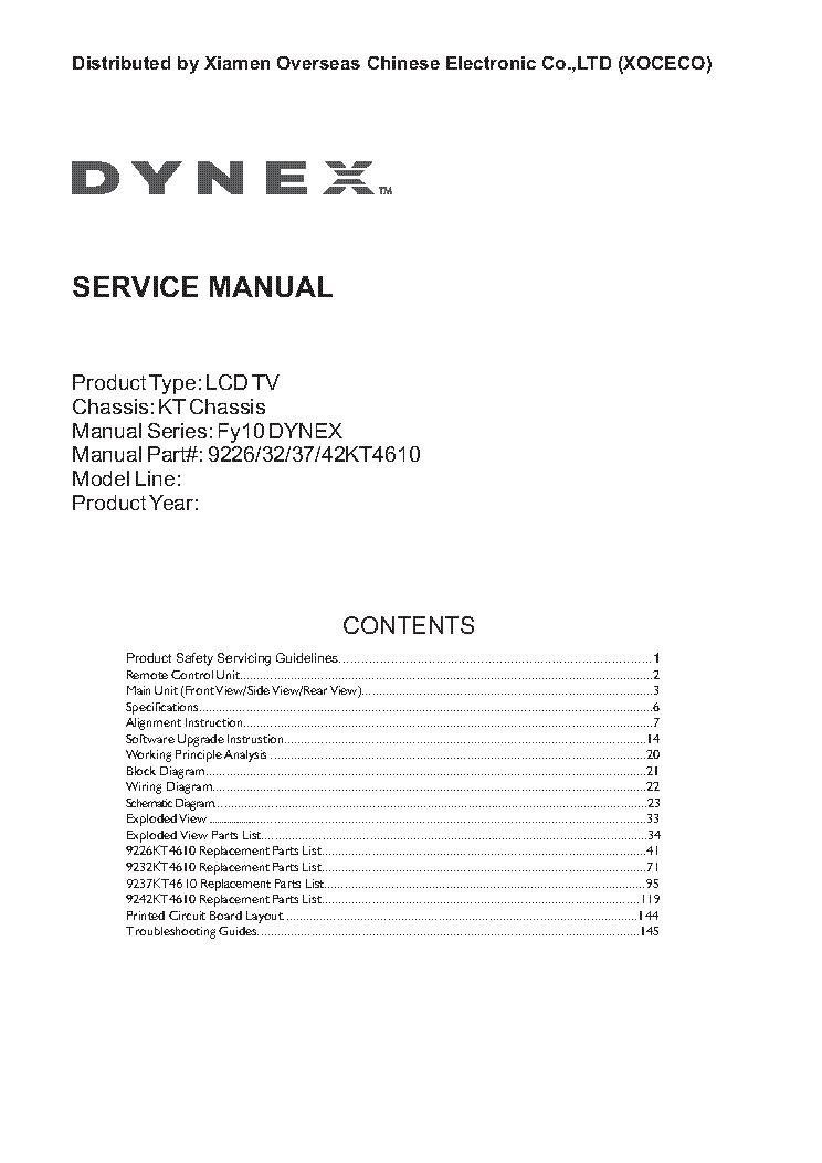 dynex dx l26 32 37 42 10a chassis kt service manual download rh elektrotanya com  Dynex TV Parts