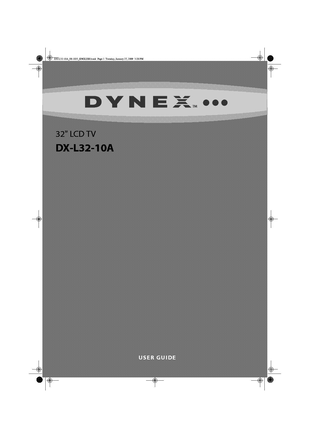 DYNEX DX-L32-10A service manual (1st page)